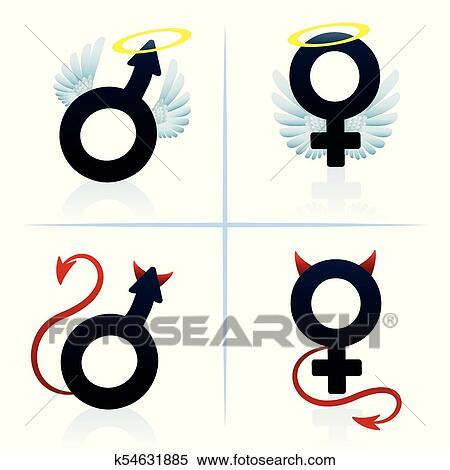 Clipart Bueno Y Mal Mujer Hombre Niño Niña Símbolos
