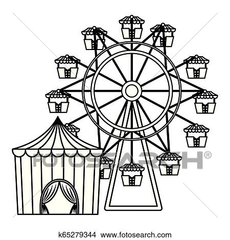 Circus tent with ring and wheel vector illustration design  sc 1 st  Stock Photography and Stock Footage & Circus tent with ring and wheel Clipart k65279344