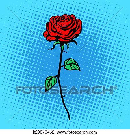 Clipart Fleur Rose Rouge Tige A Epines K29873452 Recherchez