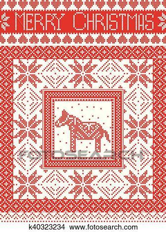 Frohe Weihnachten Norwegisch.Frohe Weihnacht Mit Dala Pferd Clipart