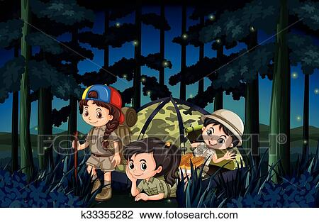 Clipart Of Girls Camping Out In The Forest At Night K33355282