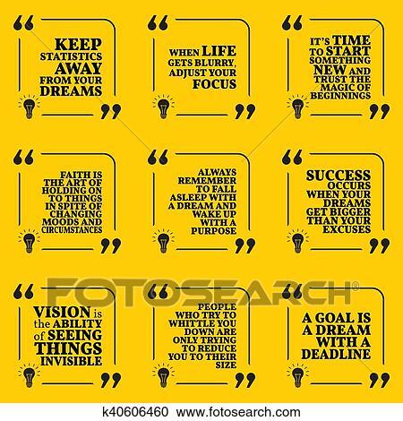 Satz Von Motivational Zitate über Statistik Träume Fokus Neuanfang Glaube Zweck Erfolg Vision Und Deadline Einfache Merkzettel