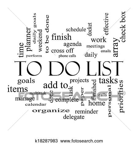 drawing to do list word cloud concept in black and white fotosearch search