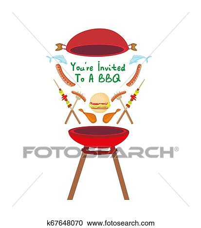 Barbecue Party Invitation Banner Clipart K67648070