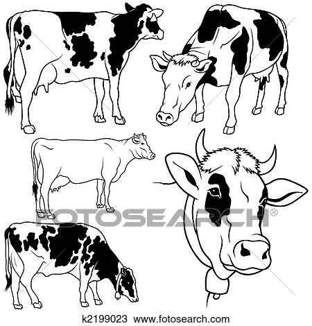 Clipart Of Cow Set K2199023