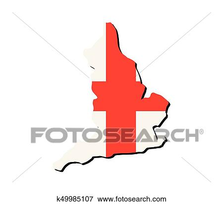 Clip Art Of England Map With Flag K49985107 Search Clipart