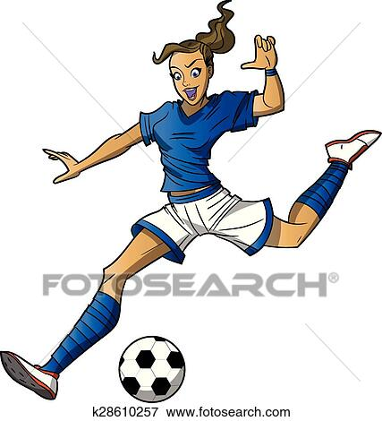 clip art of girl soccer player k28610257 search clipart rh fotosearch com free soccer girl clipart free soccer girl clipart