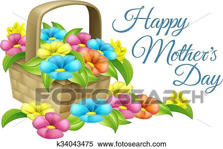 Clipart Of Happy Mothers Day Flower Basket K34043475 Search Clip