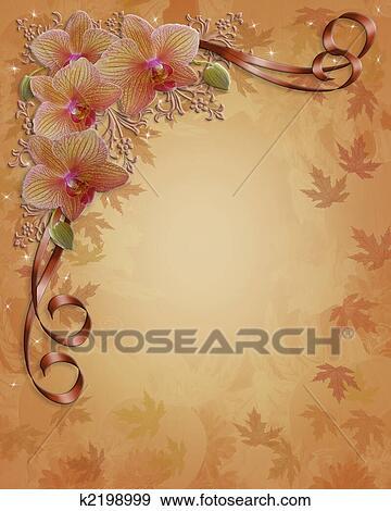 Stock Illustration Herbst Herbstliche Orchideen Blumenrahmen