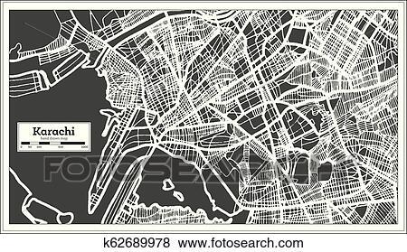 Karachi Pakistan City Map in Retro Style  Outline Map  Clip Art