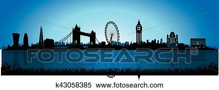 London Skyline at Night Clip Art