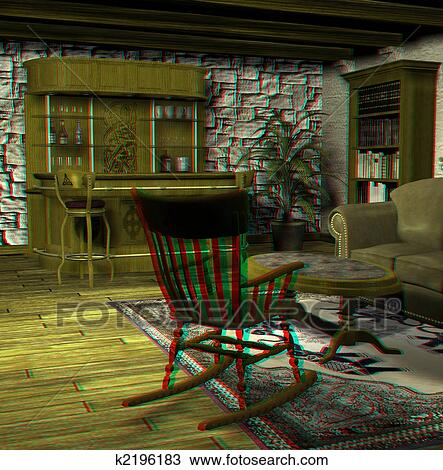 . Old fashioned living room Drawing