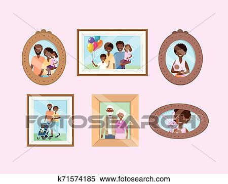 Set Portait With Family Pictures Memories Clipart K71574185 Fotosearch