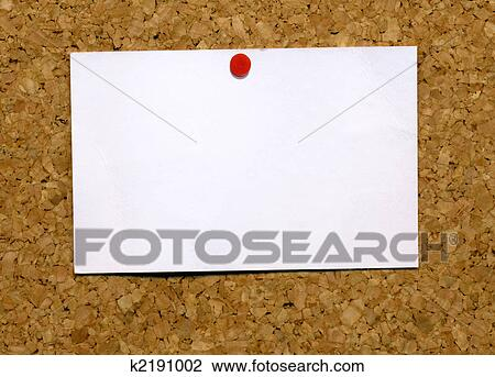 Stock photo of small blank white business card attached to a cork small blank white business card attached to a cork notice board reheart Gallery
