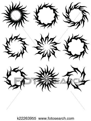 clipart tatouage soleil flamme tribal conception k22263955 recherchez des clip arts des. Black Bedroom Furniture Sets. Home Design Ideas