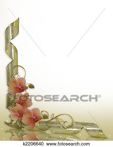 ラン 花 結婚式の招待 ボーダー クリップアート切り張りイラスト