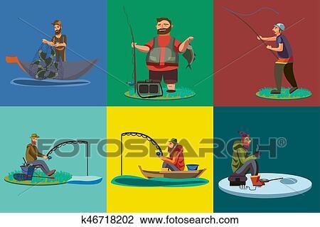 Cartone animato pescatore standing in cappello e tirate