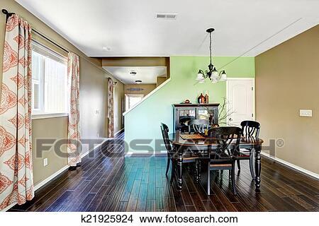 Comedor, con, beige, y, verde, color, paredes Foto | k21925924 ...