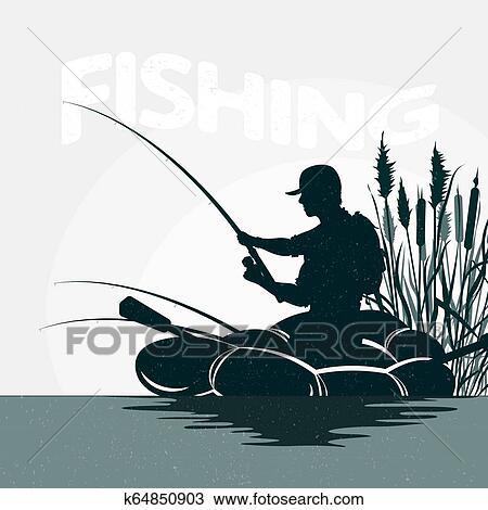 Fisherman In A Boat Fishing Clipart K64850903 Fotosearch