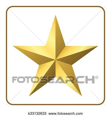 Clipart Of Gold Star Icon K33132633 Search Clip Art Illustration