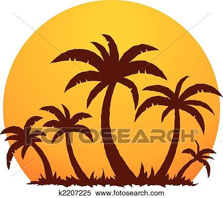 Clipart palmiers et t coucher soleil k2207225 recherchez des clip arts des - Palmier clipart ...