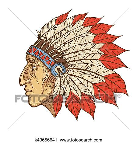Native American Indian chief head profile. Vector vintage ...