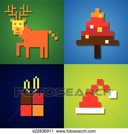 Résumé Pixel Icônes De Renne Arbre Chapeau Père Noël Clipart