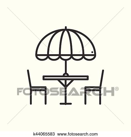 Clipart of Thin line icons set. Table and chair outside. Outdoors ...