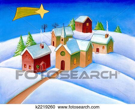 クリスマス 風景 クリップアート切り張りイラスト絵画集