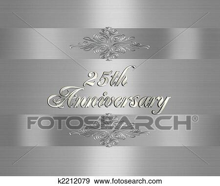 25Th Silver Wedding Anniversary invitation Stock Illustration