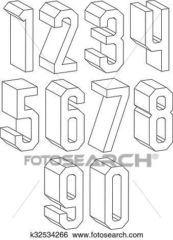 Clip Art 3d Schwarz Weiß Geometrisch Zahlen Gemacht Mit