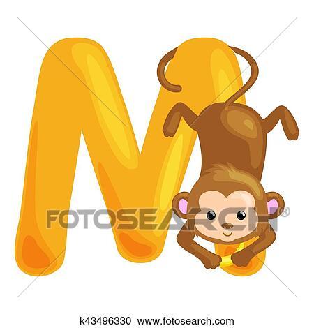 Clipart Of Animals Alphabet For Kids Fish Letter M Cartoon Fun Abc