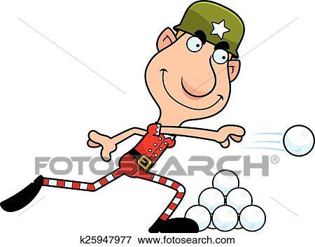 clip art of cartoon christmas elf snowball fight k25947977 search rh fotosearch com Animated Snowball Fight snowman snowball fight clipart