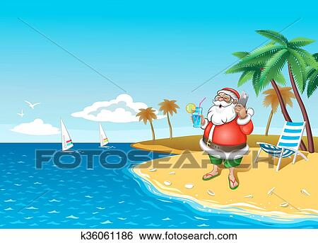 clip art christmas santa on the beach with smartphone fotosearch search clipart - Christmas At The Beach