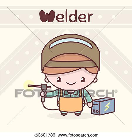 Clip Art Of Cute Chibi Kawaii Characters Alphabet Professions The