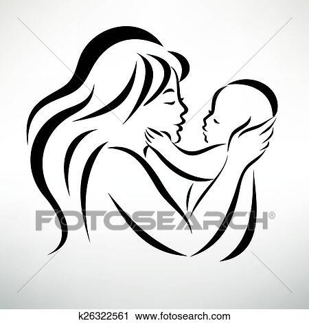 Giovane Mamma Abbraccia Lei Bambino Stilizzato Vettore Simbolo