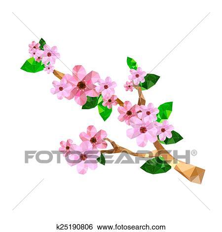 Clipart Illustration De Origami Fleur Cerise Branche K25190806