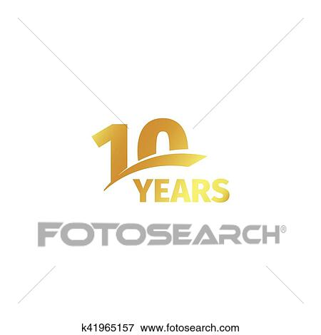 clip art of isolated abstract golden 10th anniversary logo on white rh fotosearch com 50th Anniversary Clip Art 50th Anniversary Logos Clip Art