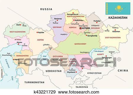 Kazakhstan administrative map with flag Clip Art | k43221729 ...