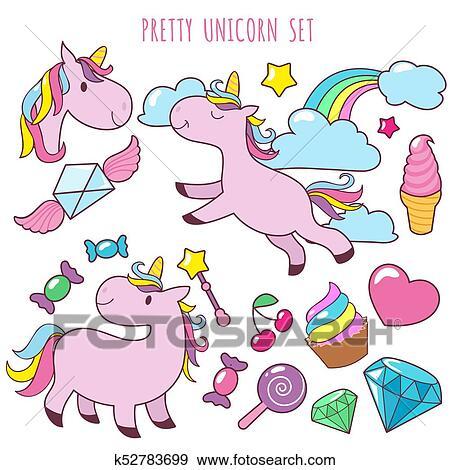 Clip Art Retro Cartone Animato Rosa Unicorni Vettore Ragazza