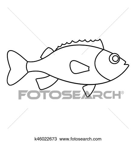 Sea Bass Icon Outline Style Drawing K46022673 Fotosearch