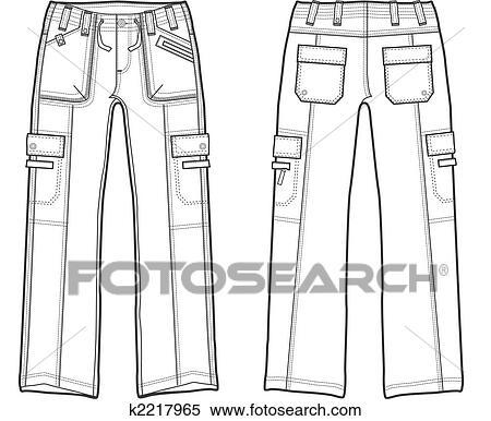 Archivio Illustrazioni Signora Moda Pantaloni Carico K2217965