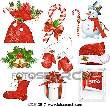 Clip Art Of Traditional Christmas Symbols K23613917 Search
