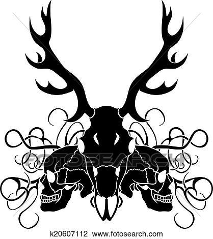 Clip Art - venado, cráneo, y, cráneo humano k20607112 - Buscar Clip ...