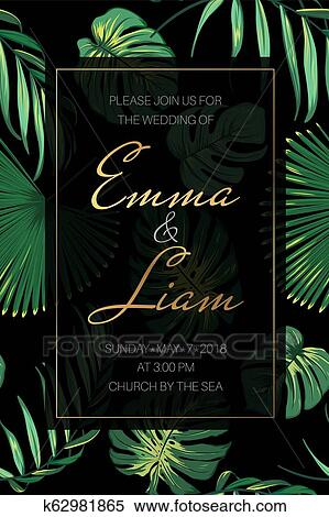 Wedding Event Invitation Card Border Frame Template Exotic Tropical Fern Greenery Vivid Bright Green Black Background Clipart