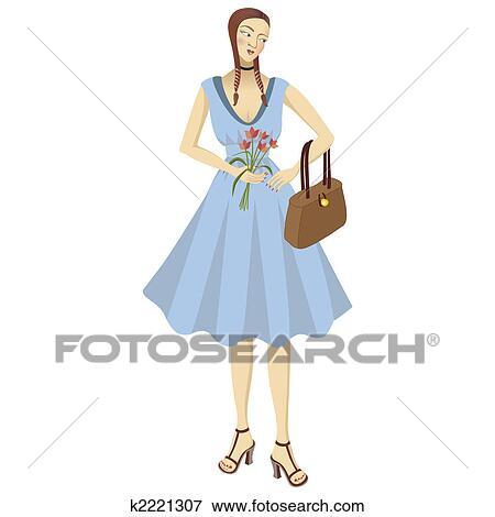 かわいい少女 中に 青いドレス イラスト K2221307 Fotosearch