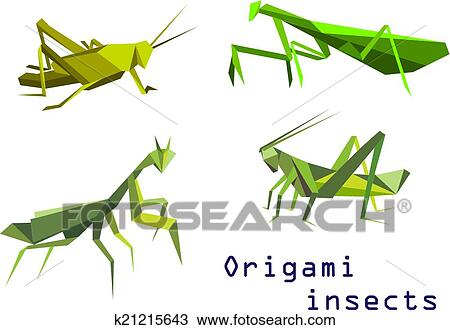 Clipart Of Green Origami Grasshoppers And Mantis K21215643