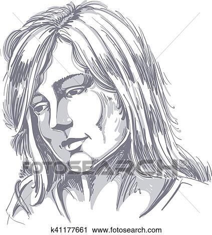 Clipart Hand Drawn Portrait De White Skin Afflige Femme