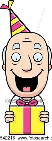 Clipart Karikatur Opa Geburtstag Geschenk K23542215 Suche Clip
