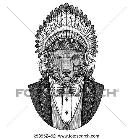 Ours Brun Russe Ours Fauve Porter Inidan Chapeau Robe Tête à Plumes Main Dessiné Image Pour Tatouage T Shirt Emblème écusson Logo